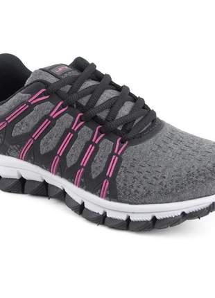 Tênis feminino preto esportivo caminhada academia casual let's preto/pink