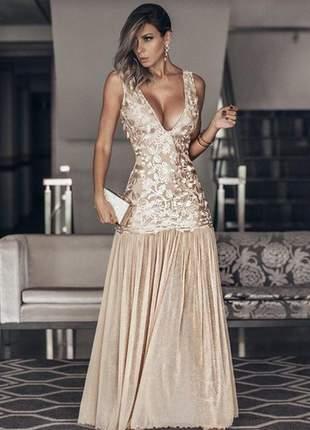 Vestido festa longo dourado