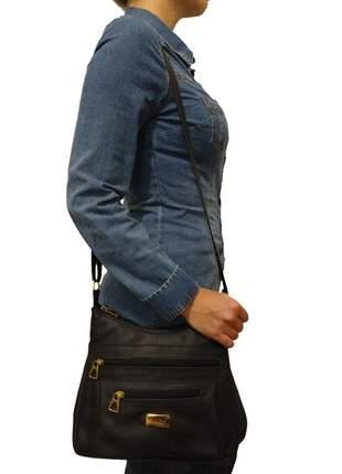 Bolsa feminina transversal topgrife couro preto