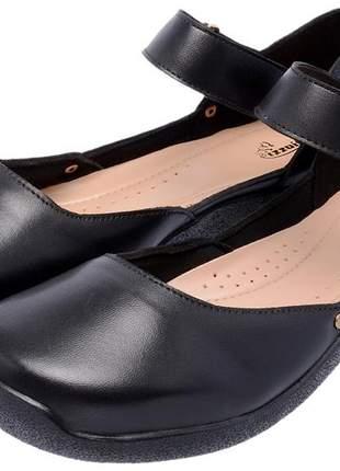 Sapatilha feminina em couro legítimo preto ref 2604