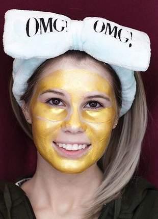 Omg! kit 3 em 1 adesivo de ouro 24k para os olhos omg, máscara peel off rosto