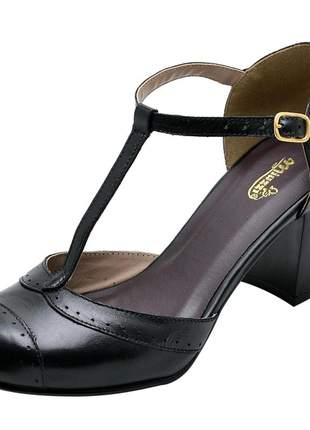 Sandália feminina retro em couro legítimo ref 3185 preto