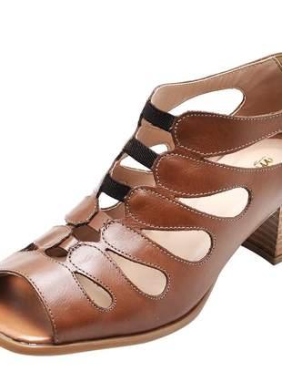 Sandália feminina retro em couro legítimo ref 3158 chocolate
