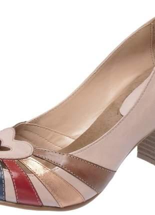 Sandália feminina retro em couro legítimo ref 3184 taupe
