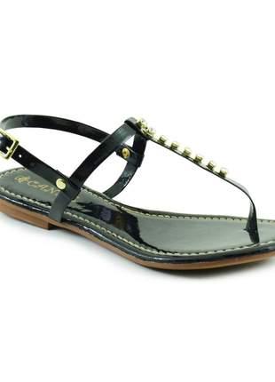 Sandália feminina rasteirinha strass - preto
