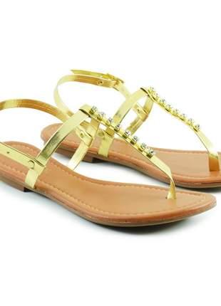 Sandália rasteirinha feminina strass - dourada