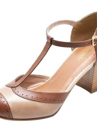 Sandália feminina retro em couro legítimo ref 3185 chocolate