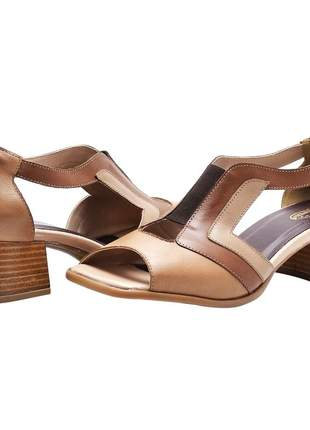 Sandália feminina retro em couro legítimo rf 3152 chocolate