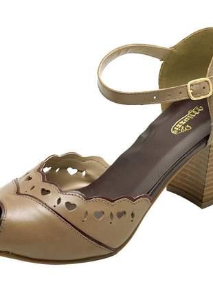 Sandália feminina retro em couro legítimo 3180 taupe chilli