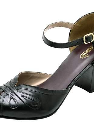 Sandália feminina retro em couro legítimo ref 3181 preto
