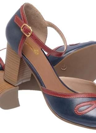 Sandália feminina retro em couro legítimo 3181 rubi marinho