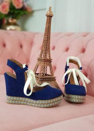 Sandália ana bela, azul camurça