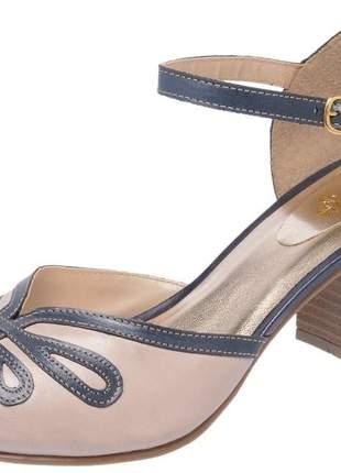 Sandália feminina retro em couro legítimo 3181 marinho taupe