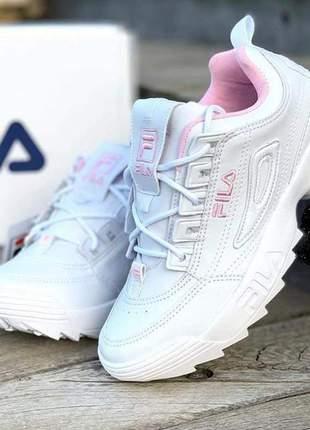 Fila disruptor branco com rosa 2019