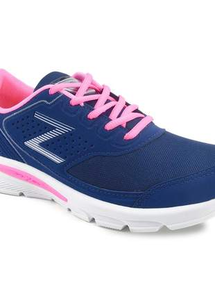 Tênis feminino zeus esportivo academia barato branco/marinho/pink