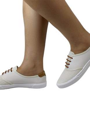 Tenis feminino moleca lona branco/off