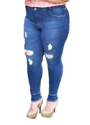 Calça jeans plus size rasgada super skinny