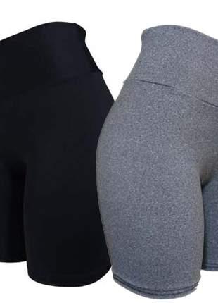 2 bermudas feminina fitness academia short suplex grossinho za