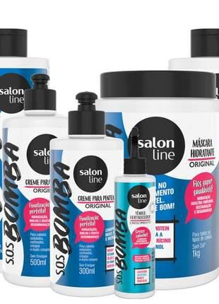 Salon line crescimento sos bomba original sh cond 500ml + masc 1kg + 02 cr pent