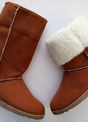 c3296d5b Bota feminina tipo ugg pelo toda forrada em lã caramelo - R$ 98.90   SHAFA  - O melhor da moda feminina