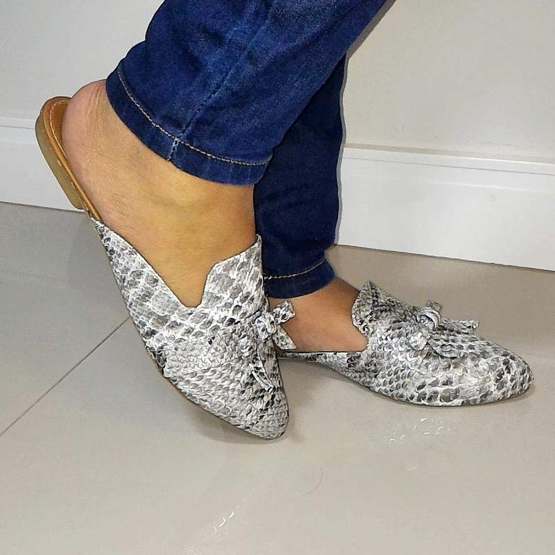 372bd413e Mule rasteira sapatilha feminina bico fino animal print cobra - R ...