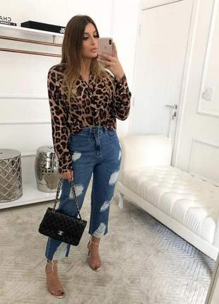 Camisa blusa de oncinha onça animal print