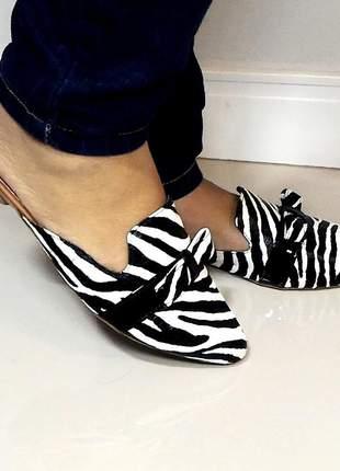 Mule rasteira sapatilha feminina bico fino animal print zebra