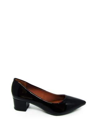 Sapato feminino social salto baixo quadrado preto