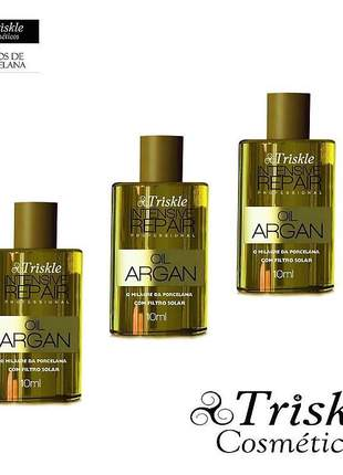 Óleo de argan oil intensive repair triskle kit com 3un - 10ml (cada)