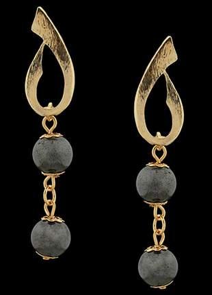 Brinco folheado à ouro 18k hematita ref. 1820