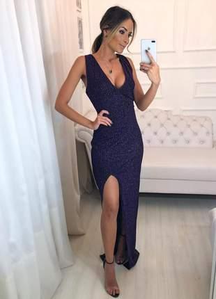 Vestido longo festa lurex azul com preto, fenda lateral