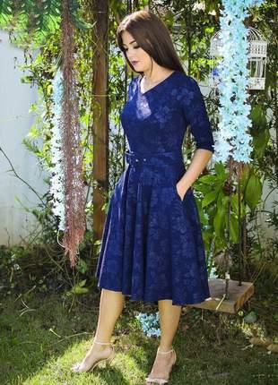 Vestido midi godê jacquar azul