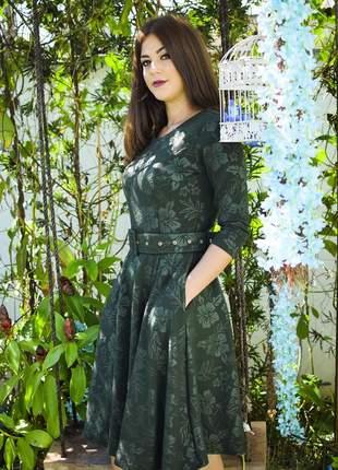 Vestido midi godê jacquar verde musgo