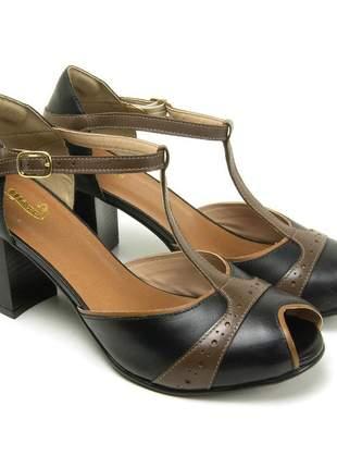 Sandália bw retro em couro legítimo 3190 preto