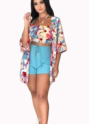 Conjunto kimono + cropped estampado