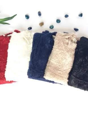 Blusa pelinho de frio pelúcia feminina outono/ inverno.