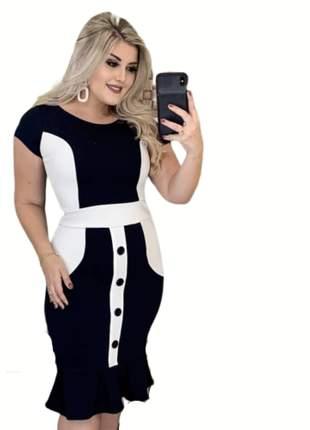 Vestido midi bicolor moda evangelica roupas femininas lançamento 2019