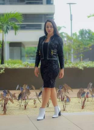Conjunto midi jacquar 3d moda evangelica executiva lançamento 2019