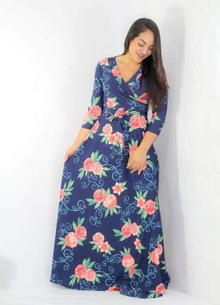 Vestido longo transpassado gode moda evangelica floral lançamento 2019