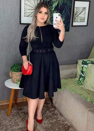 Vestido suede preto modesto