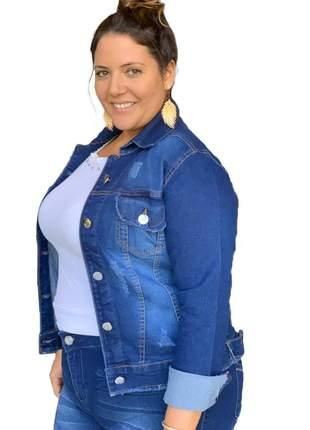 Jaqueta jeans feminina plus size gg ao g3