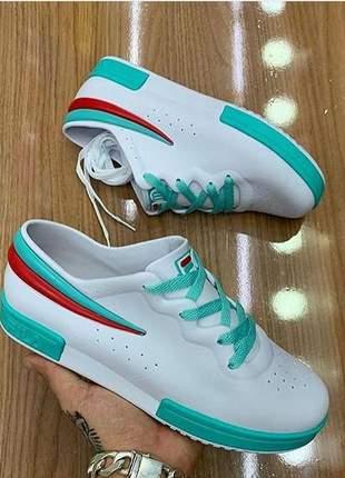 Tênis melissa sneaker + fila branca verde agua