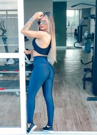 Conjunto fitness azul marinho com cintura alta e cordão