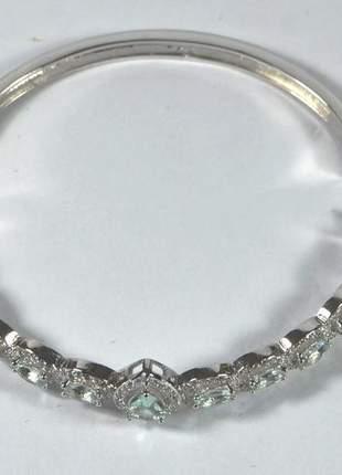 Bracelete com cristais verdes ródio branco semijoia gazin