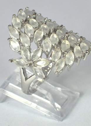 Anel cristais brancos tamanho 21mm ródio branco semijoia gazin
