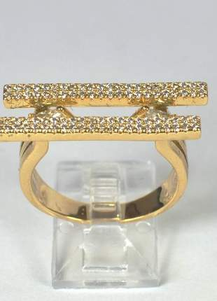Anel com micro zircônia tamanho 22mm dourado semijoia gazin