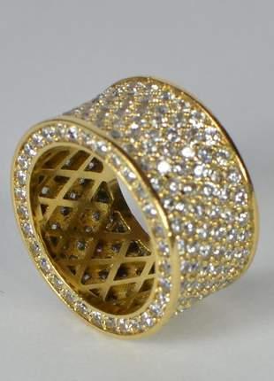 Anel largo cravejado em microzircônias tamanho 16mm dourado semijoia gazin