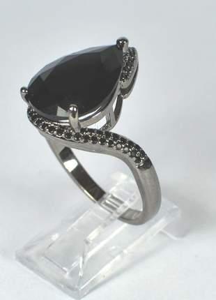Anel cristal preto tamanho 24mm ródio negro semijoia gazin