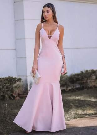 Vestido de festa longo rosa bebê candy sereia decote lançamento