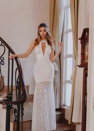 Vestido branco off white longo sereia renda noiva lançamento